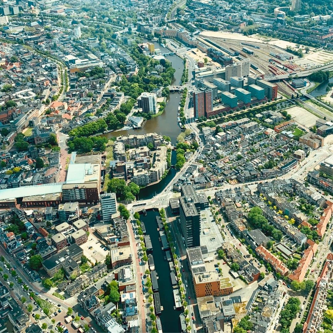 Groningen stad foto gemaakt vanuit de lucht